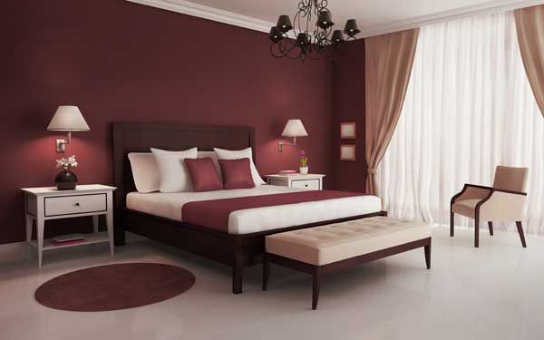 Maroon Bedroom Interior Maroon Bedroom Elegant Bedroom