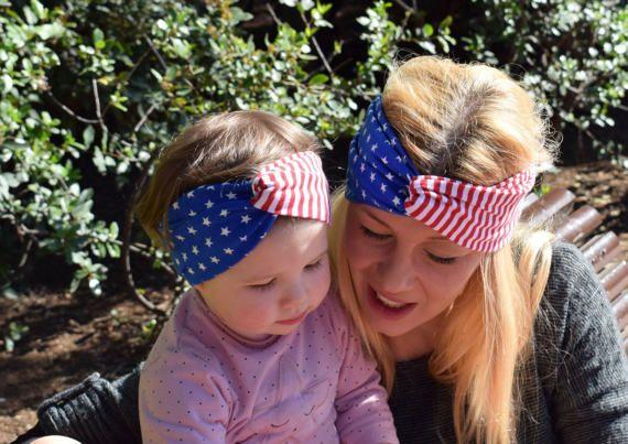 Madre e Hija a Conjunto - Turbante Niña Bandera Americana - Madre e Hija Iguales - Diadema Bebé - Regalo Bebé Niña - Regalo Día de la Madre