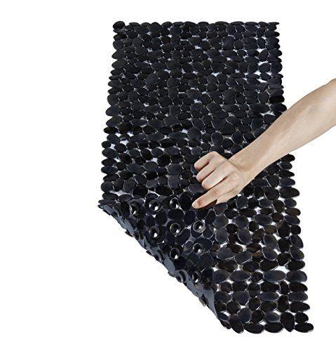 NTTR Anti-Slip Anti-Bacterial Stone Bath Mats,Slip-Resistant Shower Mats(Clear Black,16 W x 35 L Inches) |