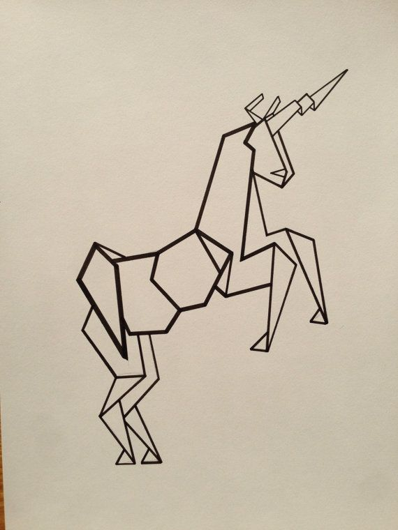 Illustrated Geometric Unicorn Poster (Reproduction)