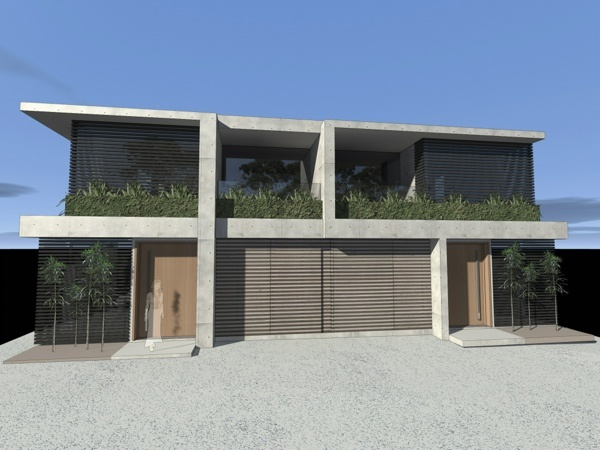 Dual occupancy duplex development concrete timber and for Duplex plans australia