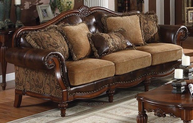 Acme Dreena Traditional Bonded Leather and Chenille Living Room Set