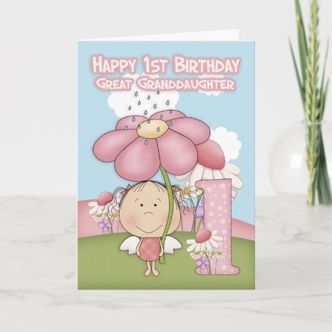 1st Birthday Great Granddaughter Greeting Card Zazzle Com In 2020 1st Birthday Send Birthday Card Custom Greeting Cards