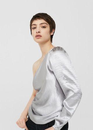 Bluzka na jedno ramię w metalicznym kolorze | MANGO