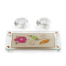 Glass Shabbat Candles Set with Tray and Tulip Motif