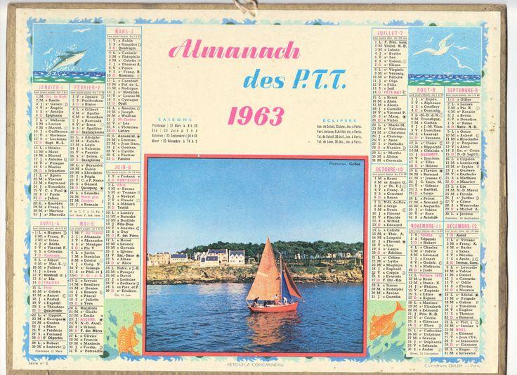 CALENDRIER, ALMANACH PTT - ANNEE 1963 - RETOUR A CONCARNEAU  -SERIE N°2