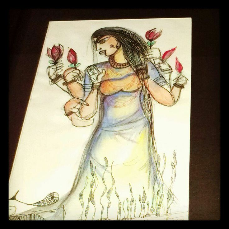 Devi+Water Color+Ink+One Painting  +one day
