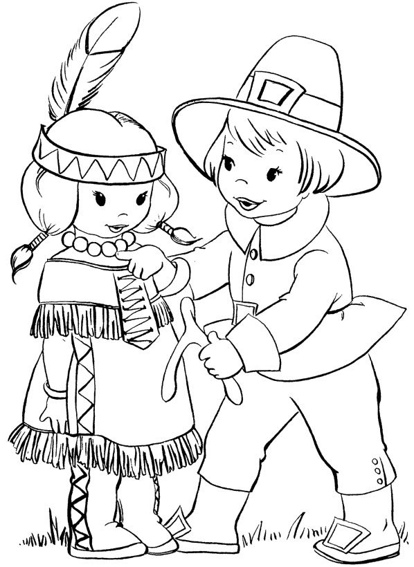 Thanksgiving Native American Indian Coloring Page