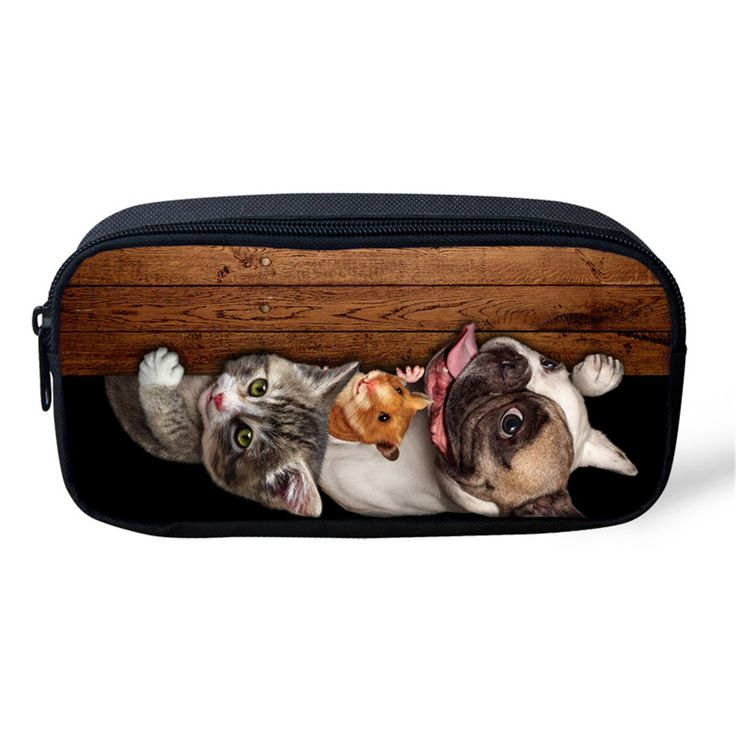 ELVISWORDS Cute Boys Pencil Case 3D Animal Printed Women Cosmetic Bag Kids Stationery Children School Supplies Dog Pen Pouch Box