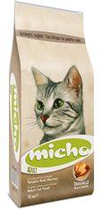 """Micho Adult Cat  Micho Adult Cat TAVUKLU (Hamsi ve Pirinç eşliğinde) Yetişkin Kedi Maması  Tüm ırklardan Yetişkin Kediler için hazırlanmıştır.  Türkiye'nin en çok satan kedi maması Micho, en başarılı ve popüler mamalarımızdan biridir. Bu başarı, kedileri son derece cezbeden, mamanın """"tazeliğinden"""" ve yüksek tavuk içeriğinden kaynaklanmaktadır. Fiyatı ise, doğrudan satış avantajı sayesinde muadili olan diğer mamaların çok altındadır."""