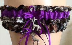 Mossy Oak Purple Wedding Garter Set, Prom Garter Set - Regular / Camo