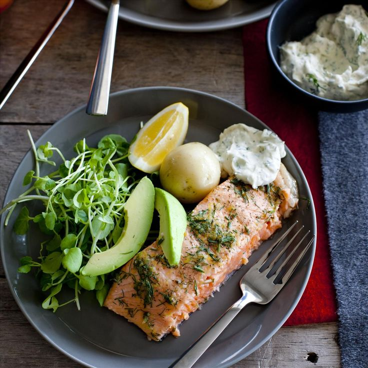 BAKED DILL SALMON WITH HORSERADISH DRESSING, WATERCRESS AND POTATOES