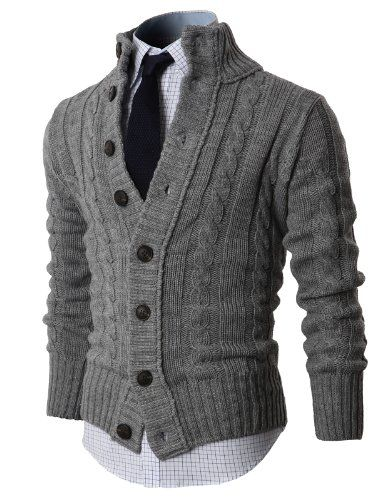 This one is ok, too, but would prefer non-grey since I already have a grey sweater.  H2H Mens High-neck Twisted Knit Cardi... $56.50 #bestseller #H2H