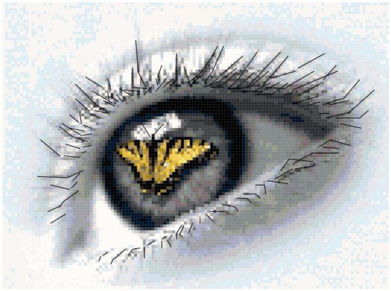 Counted Cross Stitch Original Pattern Eye of by crossstitchnerd, $7.50
