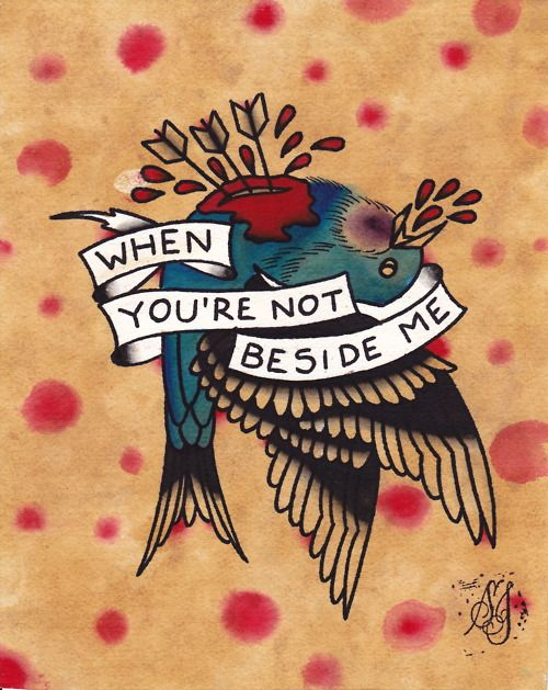 When You're Not Beside Me Tattoo Flash   KYSA #ink #tattooflash #tattoo