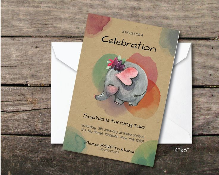 """Printable and printed birthday baby party invitation """"cute baby girl elephant"""", second birthday girl, paper and party,thank you card by BeePrintDesigns on Etsy"""