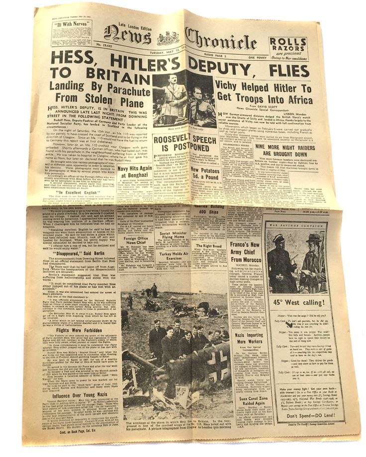 1941 News Chronicle Hess Hitler's Deputy Flies to Britain Daily Mail Antique Newspaper Vintage Ephemera WWII Newspaper Miltary Newspaper by BiminiCricket on Etsy