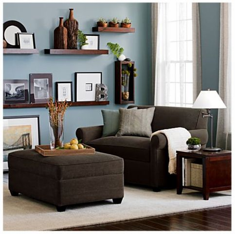 Pinning this really for the color combo - dark brown sofa and shelves against light blue walls. LOVE!