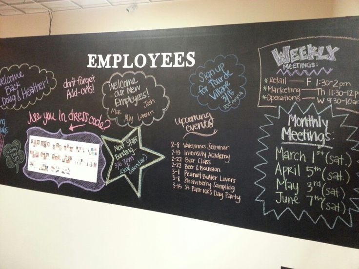 Employee Chalk Board Wall Diy Creativity At Its Finest