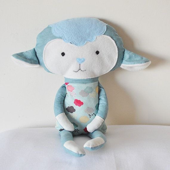Soft Handmade Doll Merlin The Lamb for baby boy by NUNUnuDesign, $27.00