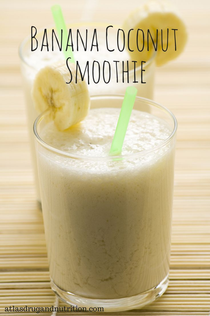 """Banana coconut smoothie. This smoothie is as delicious as it is creamy. Here's the best part: it's simple to make and made with """"clean"""" ingredients. Get this and 19 more awesome clean eating recipes here."""