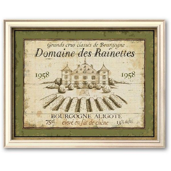 Art.com ''French Wine Labels Iii'' Framed Art Print by Daphne... ($87) ❤ liked on Polyvore