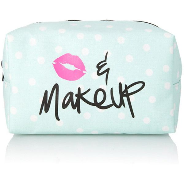 FOREVER 21 Polka Dot Kiss & Makeup Cosmetic Bag found on Polyvore