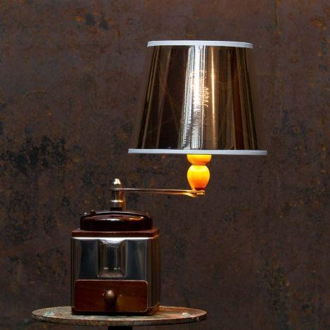 Fresh Lampe moulin caf abat jour m tal et bois fonc