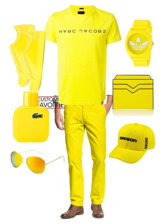 """yellow gang"" by onesclanivis on Polyvore featuring Tommy Hilfiger, Marc Jacobs, Facetasm, adidas, Valextra, SW Global, Top of the World, Lacoste, men's fashion and menswear"