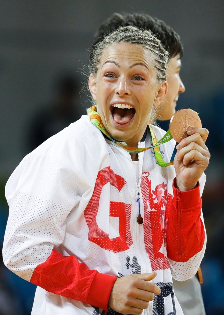 Britain's Sally Conway celebrates with her bronze medal during the medal…