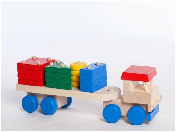 Truck with Colourful Blocks, Wooden Truck, Wooden Stacking Game