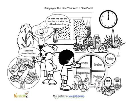 9 best new years printables images on pinterest eat for Healthy plate coloring page