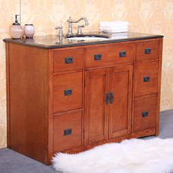 @Overstock.com - Granite 48- inch Single Sink Bathroom Vanity - Update your bathroom decor with this beautiful one sink vanity. This granite top vanity features a gorgeous oak wood finish, six drawers and two soft-closing doors.  http://www.overstock.com/Home-Garden/Granite-48-inch-Single-Sink-Bathroom-Vanity/6133446/product.html?CID=214117 $1,024.99