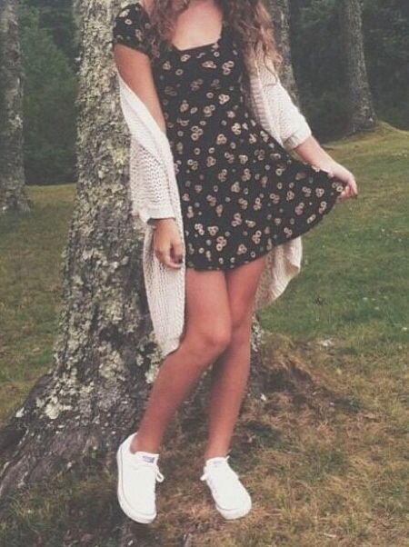 Brandy Melville sundress with oversized cardigan, love style of dress-hate fabric, hate the oversized cardigan.