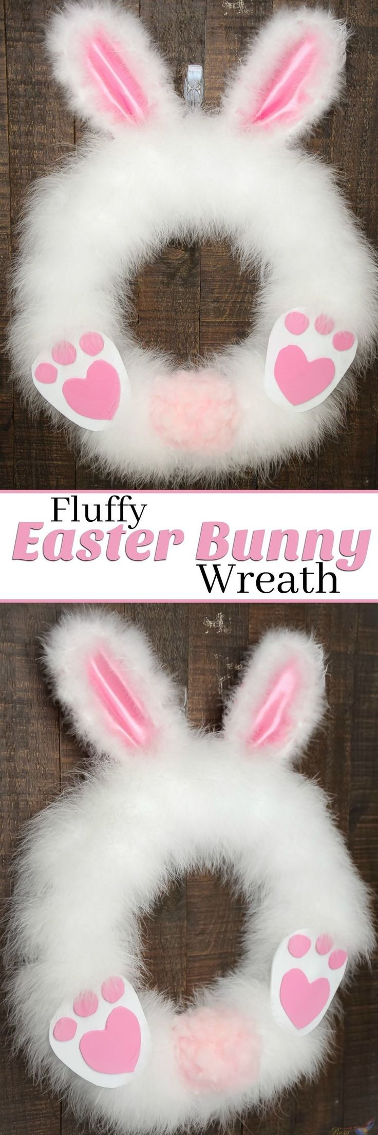 This DIY Fluffy Easter Bunny wreath craft project is so adorable and simple! Our tutorial is so easy that you can make this Easter Wreath in 30 minutes or less. And it's so fun that kids and adults alike can have fun while still looking amazing for your front porch! It's the perfect Easter Craft for a limited budget and time. Follow us for more Easter Decorating Ideas.  #homedecor #homedesign #homedecorideas #easterbunny #eastercrafts