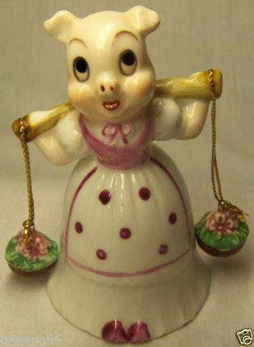 Porcelain Pig Bell with Flower Basket Clappers Hand Bell   eBay