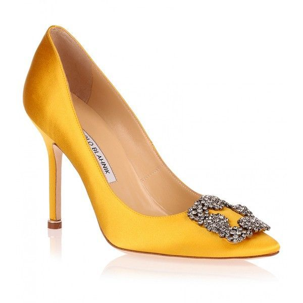 Manolo Blahnik Hangisi satin pump yellow ($965) ❤ liked on Polyvore featuring shoes, pumps, heels, manolo blahnik, sapato, yellow, manolo blahnik shoes, high heel pumps, leather sole shoes and special occasion shoes