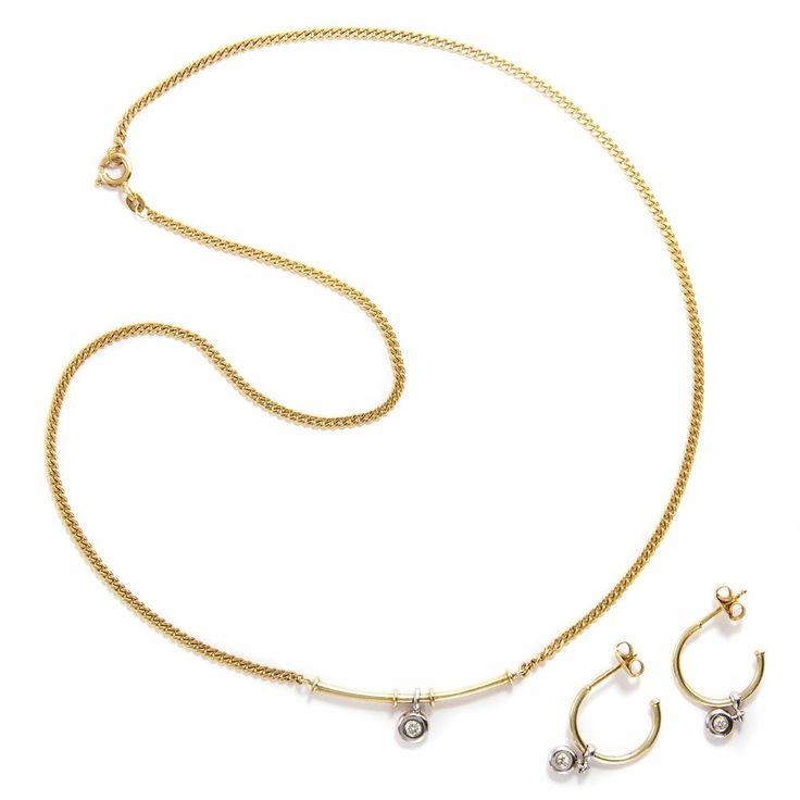 Set von Quinn: Ohrringe & Kette, 585 Gold & Diamanten, Collier, Franz Scheuerle in Antiquitäten & Kunst, Antikschmuck, Schmuck & Accessoires | eBay!