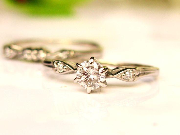 Vintage Engagement Ring Heart Motif Bridal Set 0.29ctw Diamond Wedding Ring Set 14K White Gold Bridal Jewelry Set Size 6! by LadyRoseVintageJewel on Etsy