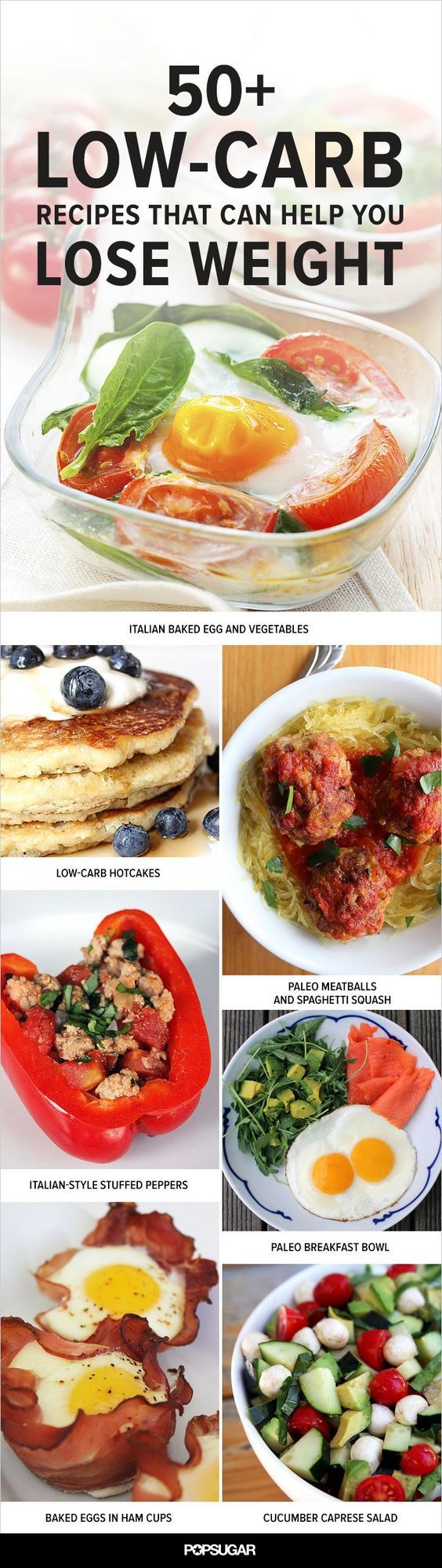 f you're looking to shed pounds, cutting back on carbs can be an effective part of your weight-loss strategy. Most low-carb plans recommend eating between 50 and 150 grams of carbs per day, and all the following breakfast, lunch, dinner, and snack