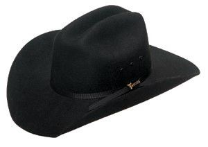 "- Black wool felt cowboy hat - Black eyelits - Black hat band - 4 inch crown, 3 1/2 inch brim - Inner elastic band makes one size fit most Available Sizes: - Medium (fits up to 6-1/2"") - Large (fits u"