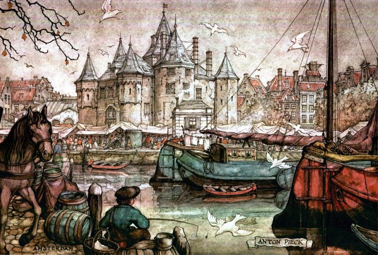 Fishing - Amsterdam - Anton Pieck, Dutch painter, artist and graphic artist.