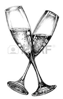 how to draw a champagne glass