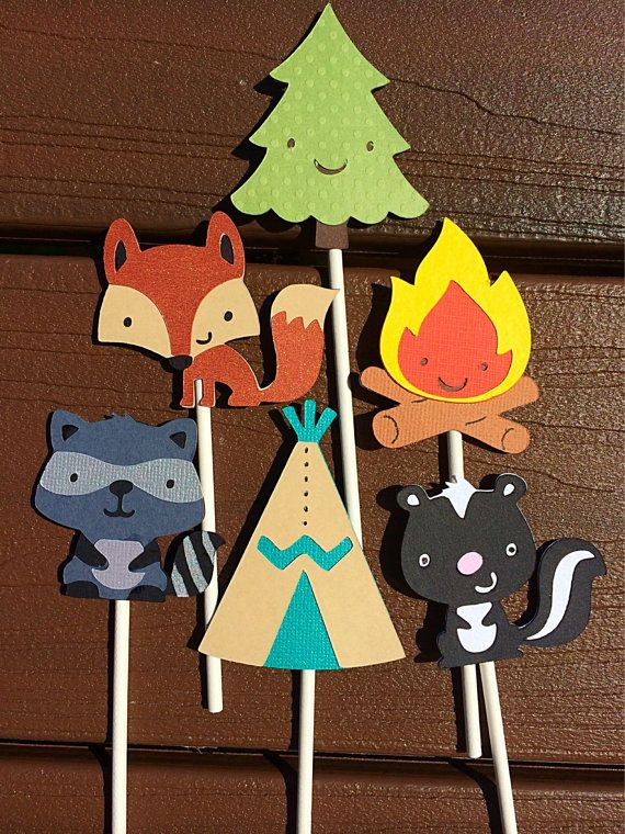 12 Outdoor Wilderness cupcake Toppers Forest Friends, Woodland animals by MiaSophias, $11.99