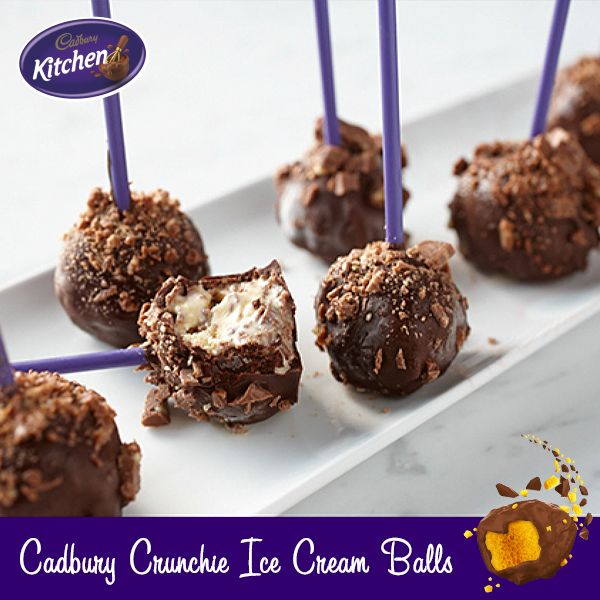 Everyone loves #ice-cream. Try these fun #Cadbury Dairy Milk #Crunchie pops for your next party! #baking