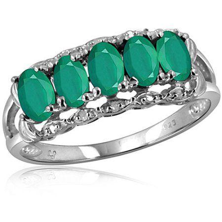 JewelersClub 1.15 Carat Emerald Gemstone and 1/20 Carat White Diamond Ring, Size: 8, Silver