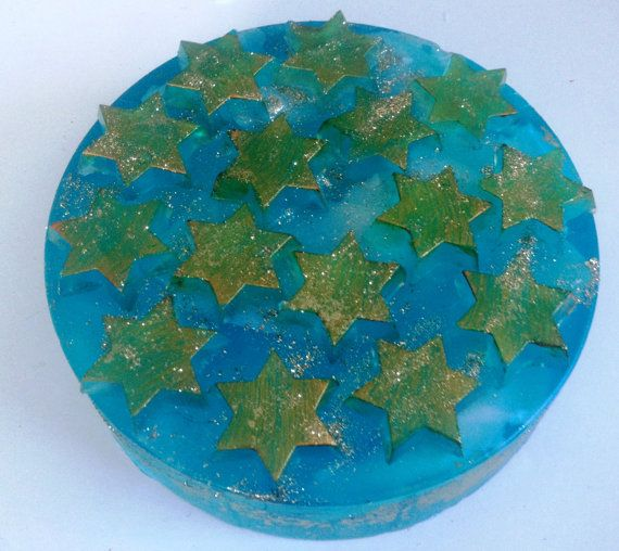 Aquamarine-Turquoise Artfully-designed Scented Soap Cake with golden stars. Ideal as a birthday gift!