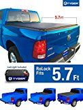 Tyger Auto TG-BC2D2064 ROLOCK Low Profile Bed Cover Fits 2009-2017 Dodge Ram 1500; 2010-2017 Ram 2500 3500 5'7″ Bed without Ram Box (with or without utility track system)
