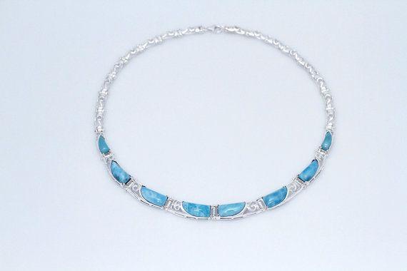 Larimar collier, bijoux Larimar, tour de cou argent Larimar