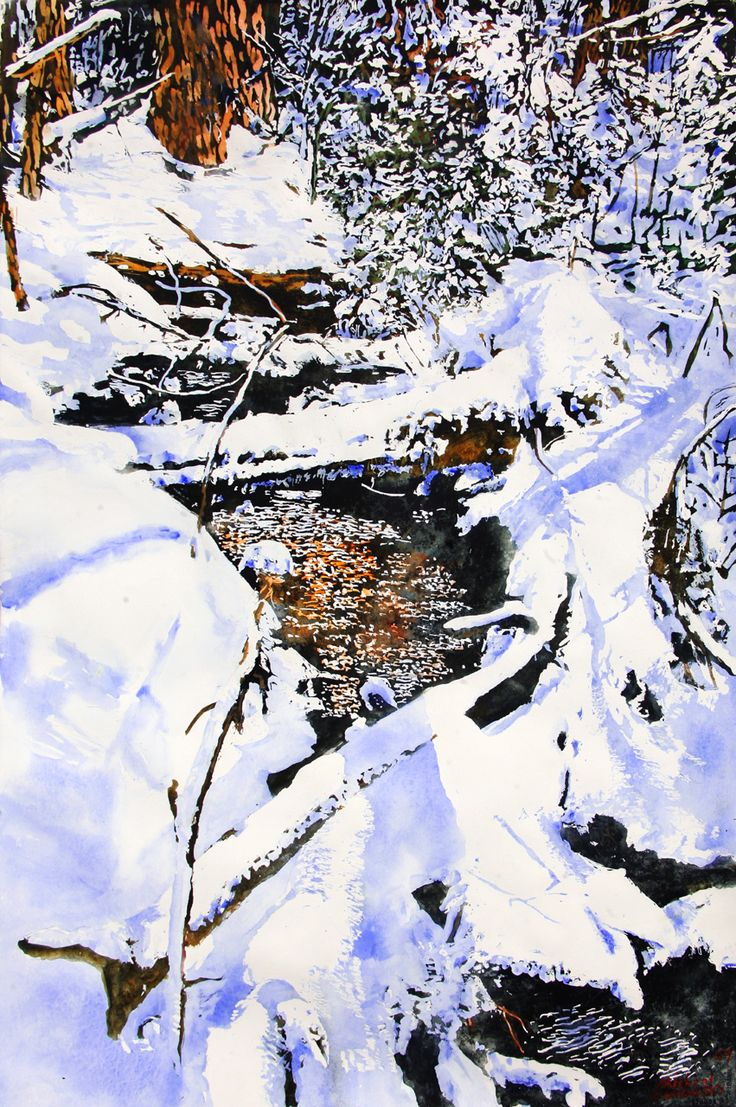 """open cedar stream 28 40"""" x 26""""  micheal zarowsky watercolour on arches paper / available $2900.00"""